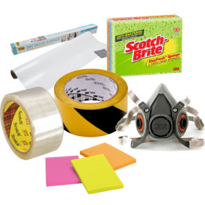 Collection of images to demonstrate the range of 3M products supplied by Easyink, including packing tape, Post-It notes and Scotch cleaning pads.