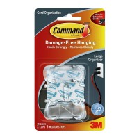 Command Clips Cord Organiser 17303CLR Large Clear 2 Pack