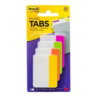 Post-it Durable Filing Tab 686-PLOY Pink Lime Orange Yellow 24 Pack