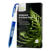 Icon Ballpoint 4 Colour Pens - 12 Pack
