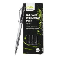 Icon Ballpoint Retractable Pens Medium Black - 10 Pack
