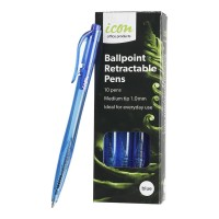 Icon Ballpoint Retractable Pens Medium Blue - 10 Pack