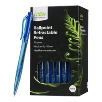 Icon Ballpoint Retractable Pens Medium Blue - 50 Pack