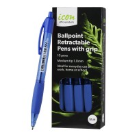 Icon Ballpoint Medium Blue Retractable Pens with Grip - 10 Pack