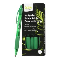 Icon Ballpoint Medium Retractable Green Pen with Grip - 10 Pack