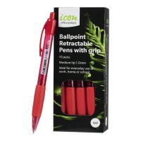 Icon Ballpoint Medium Red Retractable Pens with Grip - 10 Pack