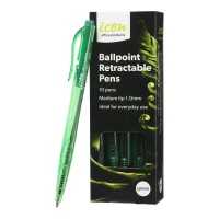Icon Ballpoint Medium Green Retractable Pens with Grip - 10 Pack