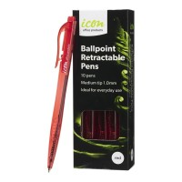 Icon Ballpoint Retractable Pens Medium Red - 10 Pack