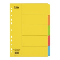 Icon Cardboard Dividers 5 Tab Coloured
