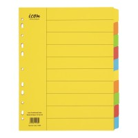 Icon Cardboard Dividers Extra Wide 10 Tab Coloured