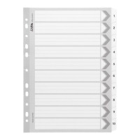 Icon Cardboard Indices with Reinforced Tabs 1-10 White