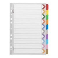 Icon Cardboard Dividers with Reinforced Tabs 10 Tab Coloured