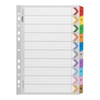 Icon Cardboard Indices with Reinforced Tabs 1-10 Coloured