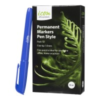 Icon Permanent Marker Pen Style Blue - 12 Pack