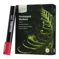 Icon Permanent Marker Bullet Tip Red - 12 Pack