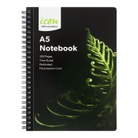 Icon Spiral Notebook A5 PP Cover Black 200 pg 3pk