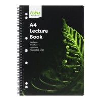 Icon Spiral Lecture Notebook A4 PP Cover Black 140 pg