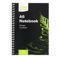 Icon Spiral Notebook A6 Soft cover 96 pg 70% Rec 3pk