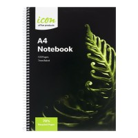 Icon Spiral Notebook A4 Soft cover 120 pg 70% Rec 3pk