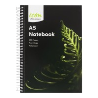 Icon Spiral Notebook A5 Soft cover 200 pg 3pk