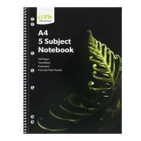 Icon Spiral 5 Subject Notebook A4 Soft Cover 250pg 2pk