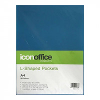 Icon L Shaped Pockets A4 Blue Pack 10