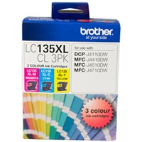 Genuine Brother LC135XL Ink Cartridge 3 Pack - Colour