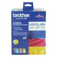 Genuine Brother LC67 Ink Cartridge 3 Pack - Colour
