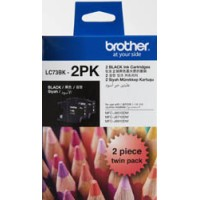 Genuine Brother LC73BK Ink Cartridge Twin Pack - Black 600 Pages Each