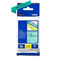 Genuine Brother TZE741 18mm Black on Green Tape