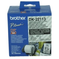 Genuine Brother DK22113 62mm Black on Clear Continuous Tape