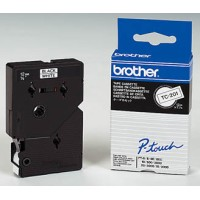 Genuine Brother TC201 Black/White 12mm P-Touch Label