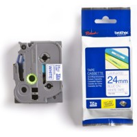 Genuine Brother TZE253 24mm Blue on White Laminated Tape