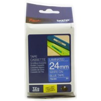 Genuine Brother TZE555 24mm White on Blue Laminated Tape