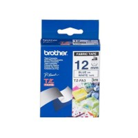 Genuine Brother TZEFA3 12mm Blue on White Fabric Tape