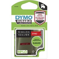 Genuine Dymo 12mm x 3m White on Red Durable D1 Label Tape