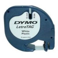 Genuine Dymo Letratag 91201 12mm x 4m White Label Tape