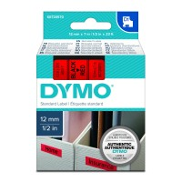Genuine Dymo 45017 12mm x 7m Black on Red D1 Label Tape