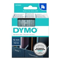 Genuine Dymo 45020 12mm x 7m White on Clear D1 Label Tape