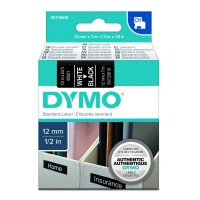 Genuine Dymo 45021 12mm x 7m White on Black D1 Label Tape