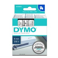 Genuine Dymo 40910 9mm x 7m Black on Clear D1 Label Tape