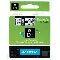 Genuine Dymo 6mm x 7m Black on Clear D1 Label Tape