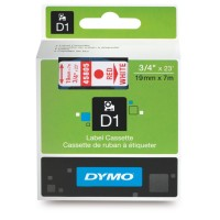 Genuine Dymo 19mm x 7m Red on White D1 Label Tape