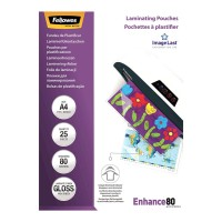 Fellowes Laminating Pouches A4 Gloss 80 micron - 25 pack