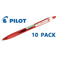 Pilot Rexgrip Begreen Medium Red Pen - 10 Pack
