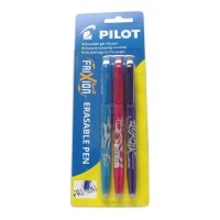 Pilot Frixion Ball Erasable Violet Light Blue Pink Gel Pen - 3 Pack