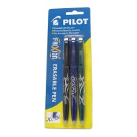 Pilot Frixion Ball Erasable Fine Blue Black Green 3 pack